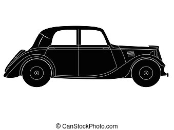 Vintage model of car - Vector illustration of the coupe -...