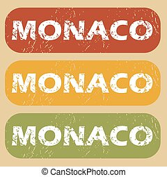 Vintage Monaco stamp set - Set of rubber stamps with country...
