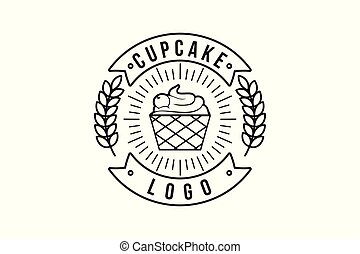 vintage mono line cupcake and wheat, bakery logo Designs Inspiration Isolated on White Background