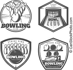 Vintage Monochrome Active Recreation Emblems Set