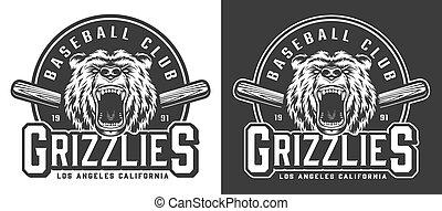 Vintage monochrome aggressive bear mascot emblem