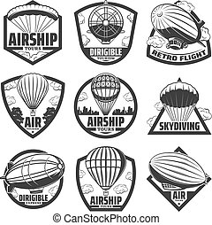 Vintage Monochrome Airship Labels Set