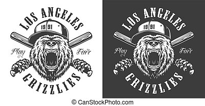 Vintage monochrome baseball club emblem