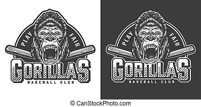 Vintage monochrome baseball club mascot logo