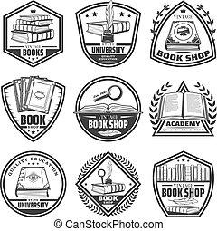 Vintage Monochrome Bookstore Labels Set