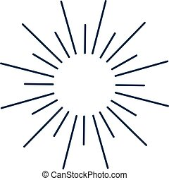 Vintage monochrome bursting rays sun lines illustration. -...