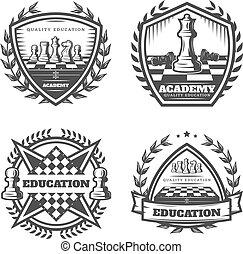 Vintage Monochrome Chess Emblems Set