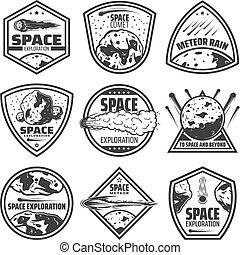Vintage Monochrome Comets Labels Set