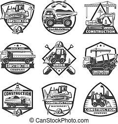Vintage Monochrome Construction Labels Set