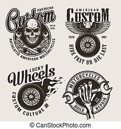 Vintage monochrome custom motorcycle labels