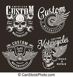Vintage monochrome custom motorcycle logos