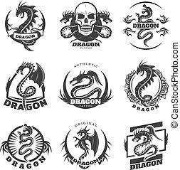 Vintage Monochrome Dragon Tattoo Labels Set