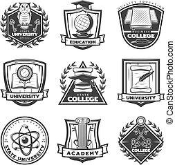 Vintage Monochrome Educational Labels Set