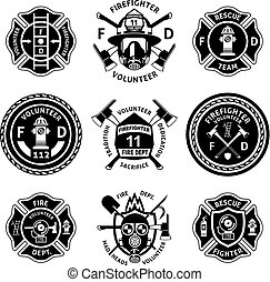 Vintage monochrome firefighting labels set with inscriptions crossed axes mask extinguisher hydrant ladder shovel isolated vector illustration