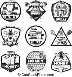 Vintage Monochrome Honey Labels Set