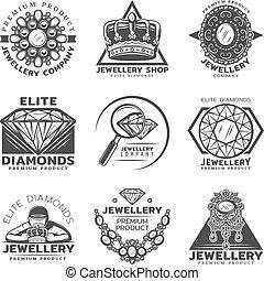 Vintage Monochrome Jewelry Shop Labels Set