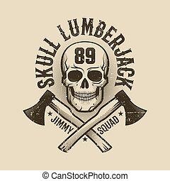 Vintage monochrome Lumberjack logo