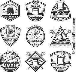 Vintage Monochrome Magic Show Labels Set