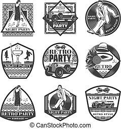 Vintage Monochrome Retro Party Labels Set