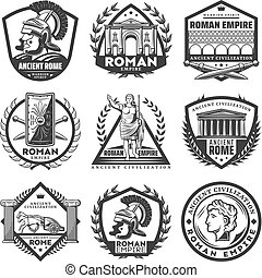 Vintage Monochrome Roman Empire Labels Set