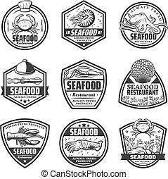 Vintage Monochrome Seafood Labels Set