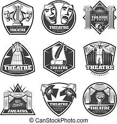 Vintage Monochrome Theatre Labels Set