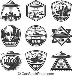 Vintage Monochrome UFO Labels Set