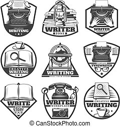 Vintage Monochrome Writer Labels Set