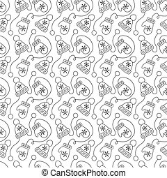 Vintage monoline Christmas seamless pattern with mittens and winter hats. Vector illustration for textile, greeting card, children wallpaper