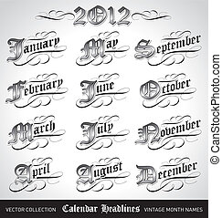 vintage month titles (vector) - set of vintage calendar...
