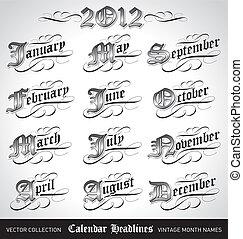 vintage month titles (vector) - set of vintage calendar ...