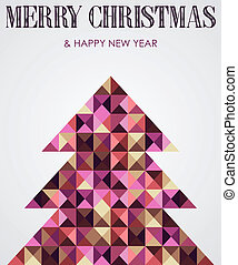 Vintage mosaic Christmas pine tree
