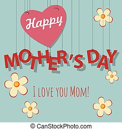 Vintage Mother's Day card with heart and flowers