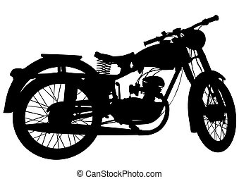 Vintage motor bike eight - Old big bike on white background