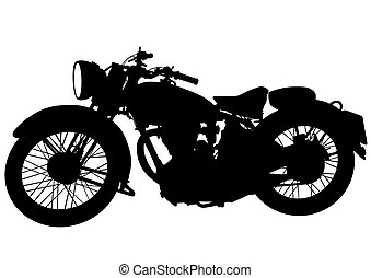 Vintage motor bike four - Old big bike on white background