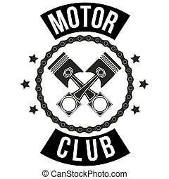 Vintage Motor Club Signs and Label with chain and pistons. ...