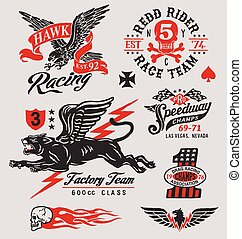 Vintage motor racing graphic set