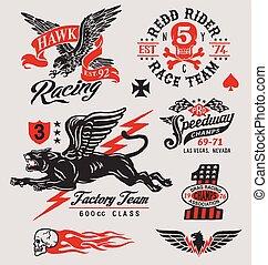 Vintage motor racing graphic set - Motorsport-inspired...