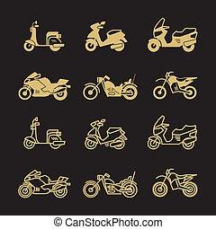 Vintage motorbike and motorcycle icons set isolated on black...