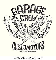 Vintage motorcycle club garage Spark Plug print design.