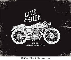 vintage motorcycle design template for tshirt