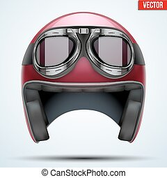 Vintage motorcycle helmet with goggles