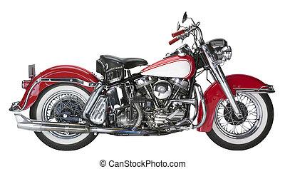 historic motorbike in white back
