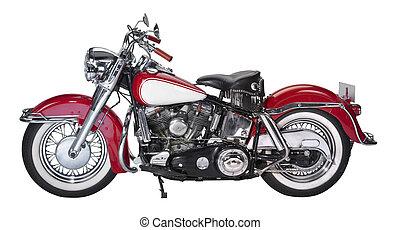 vintage motorcycle - historic motorbike in white back
