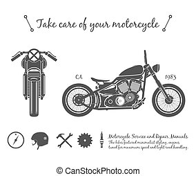 Vintage motorcycle infographic. old-school bike theme