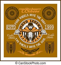 Vintage Motorcycle label, Retro chopper bike