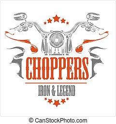 Vintage Motorcycle label, Retro chopper bike