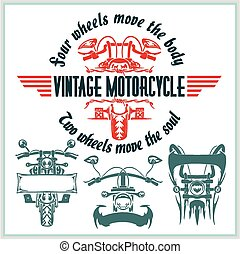 Vintage motorcycle labels, badges and design elements - vector set.