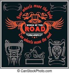 Vintage motorcycle labels, badges and design elements - vector set.