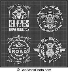 Vintage motorcycle labels, badges and design elements on...
